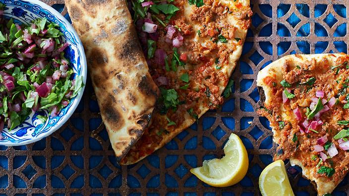 Traditionele Turkse pizza:Lahmacun